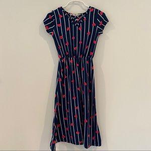 Girls Navy & Red Heart Maxi Dress